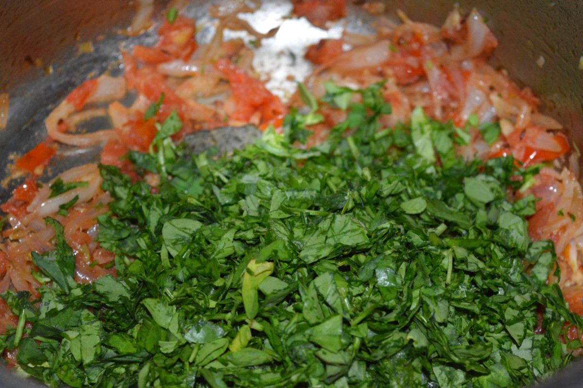 Step four: Throw in chopped fenugreek leaves. Saute for 4-5 minutes or till they become a bit dry.