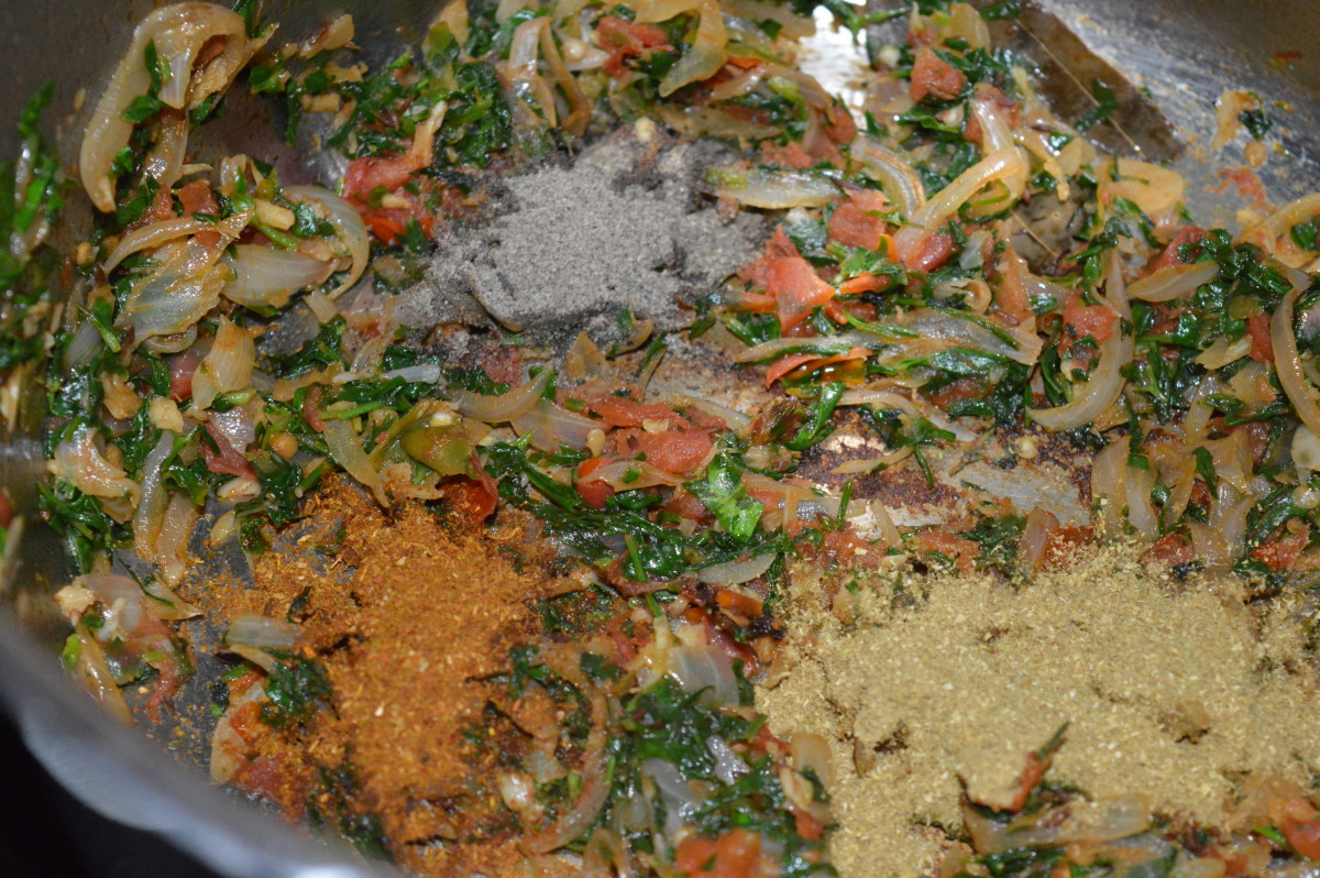 Step five: Add all the spice powders as per instructions. Throw in salt. Saute for 1-2 minutes on low flame.