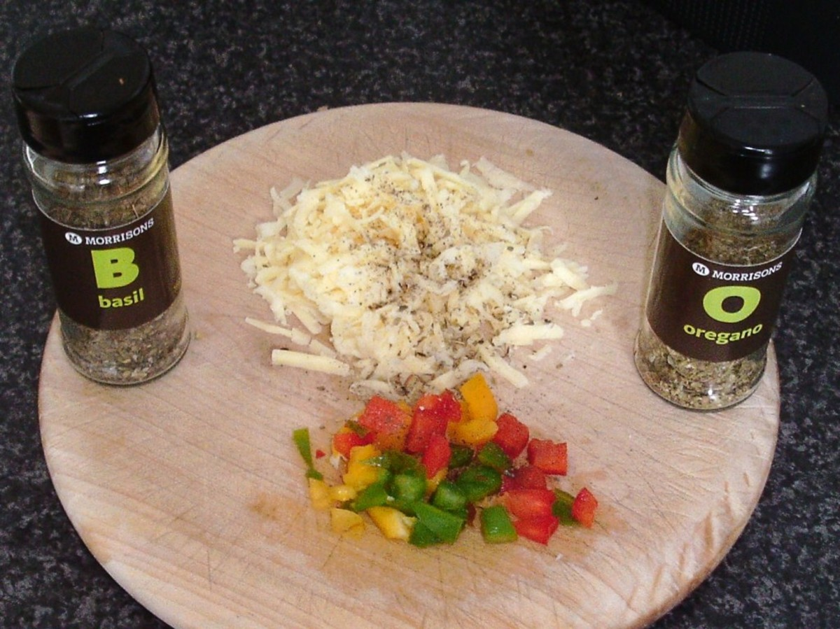 Spicy cheese and peppers topping ingredients