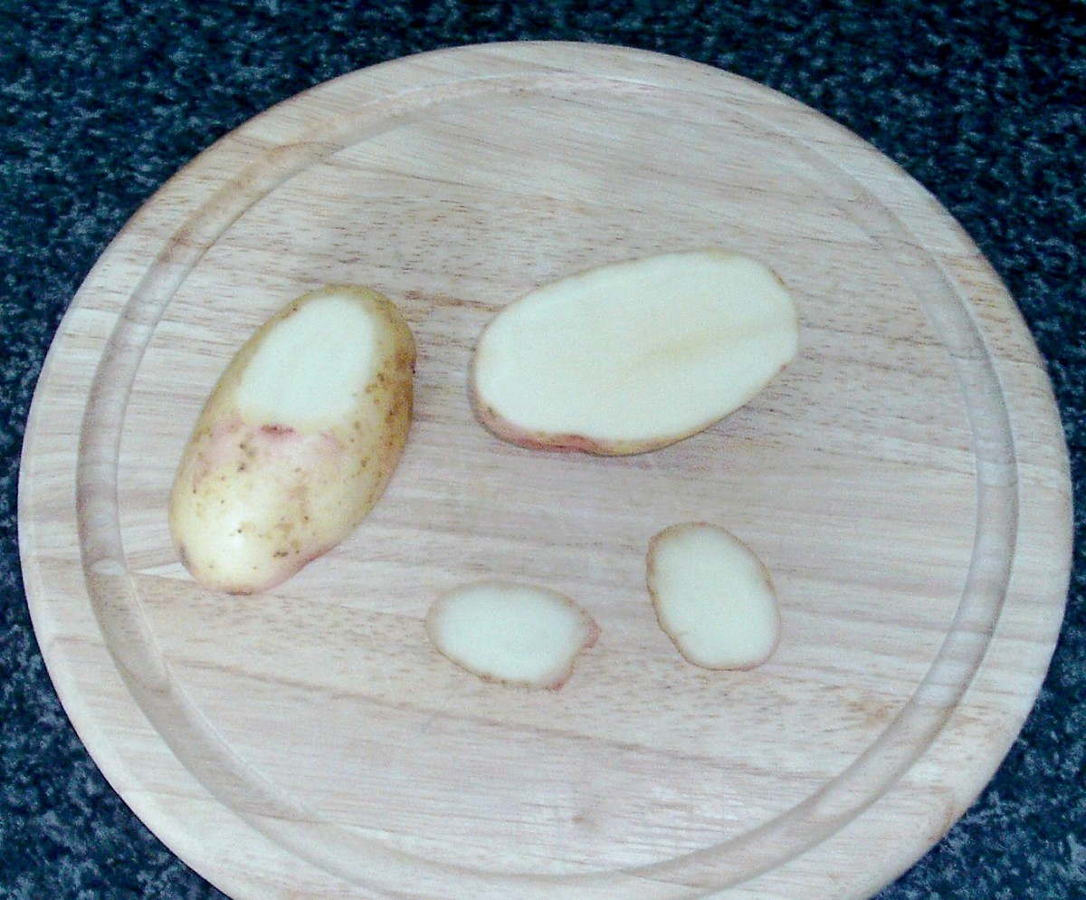 Potato is halved and trimmed