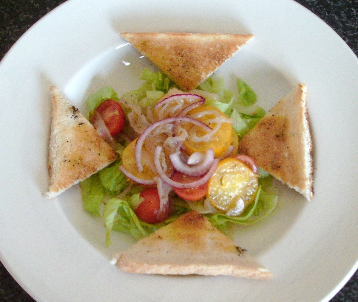 Simple Mediterranean style jellyfish salad with bruschetta