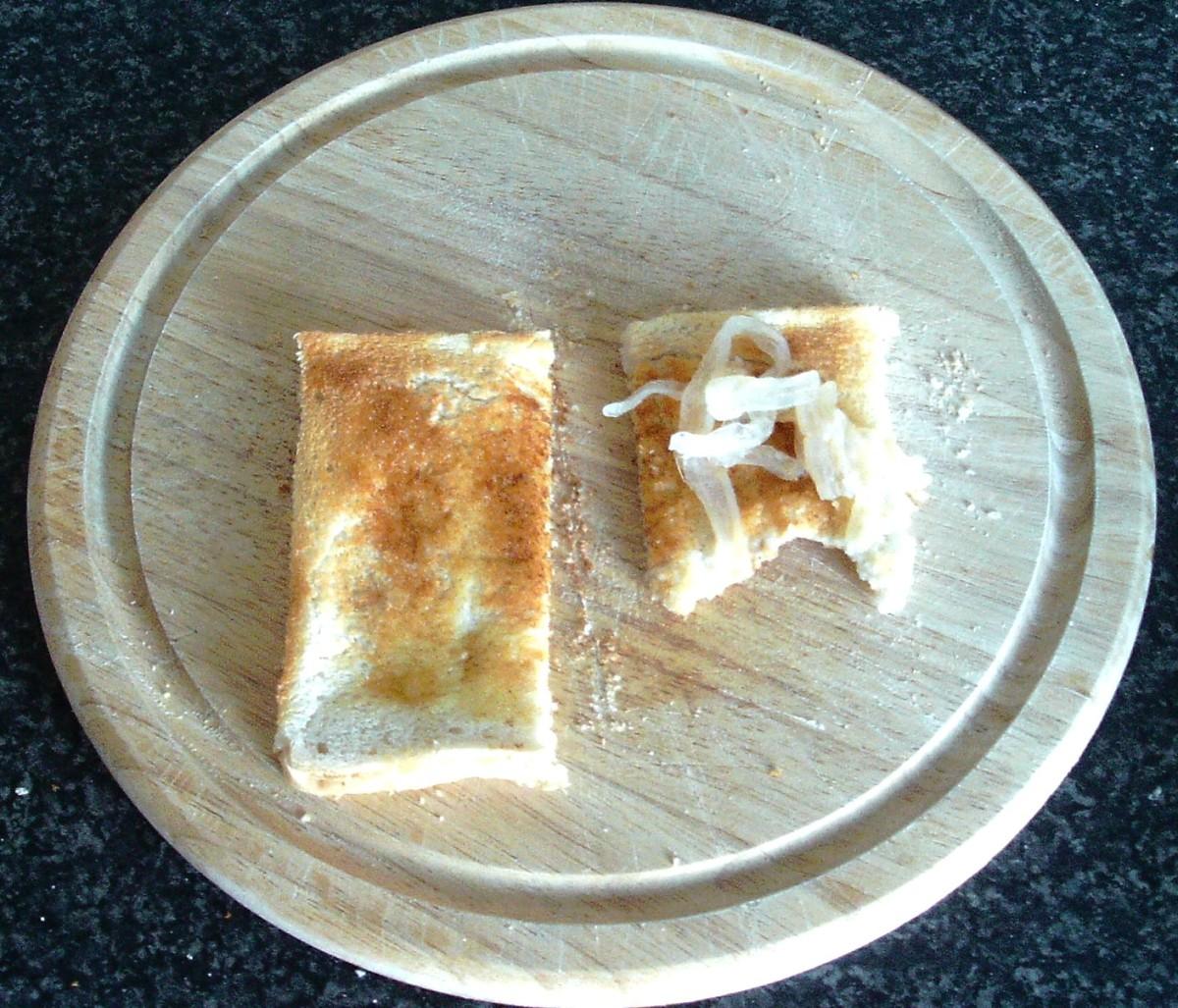 Jellyfish strips on toast
