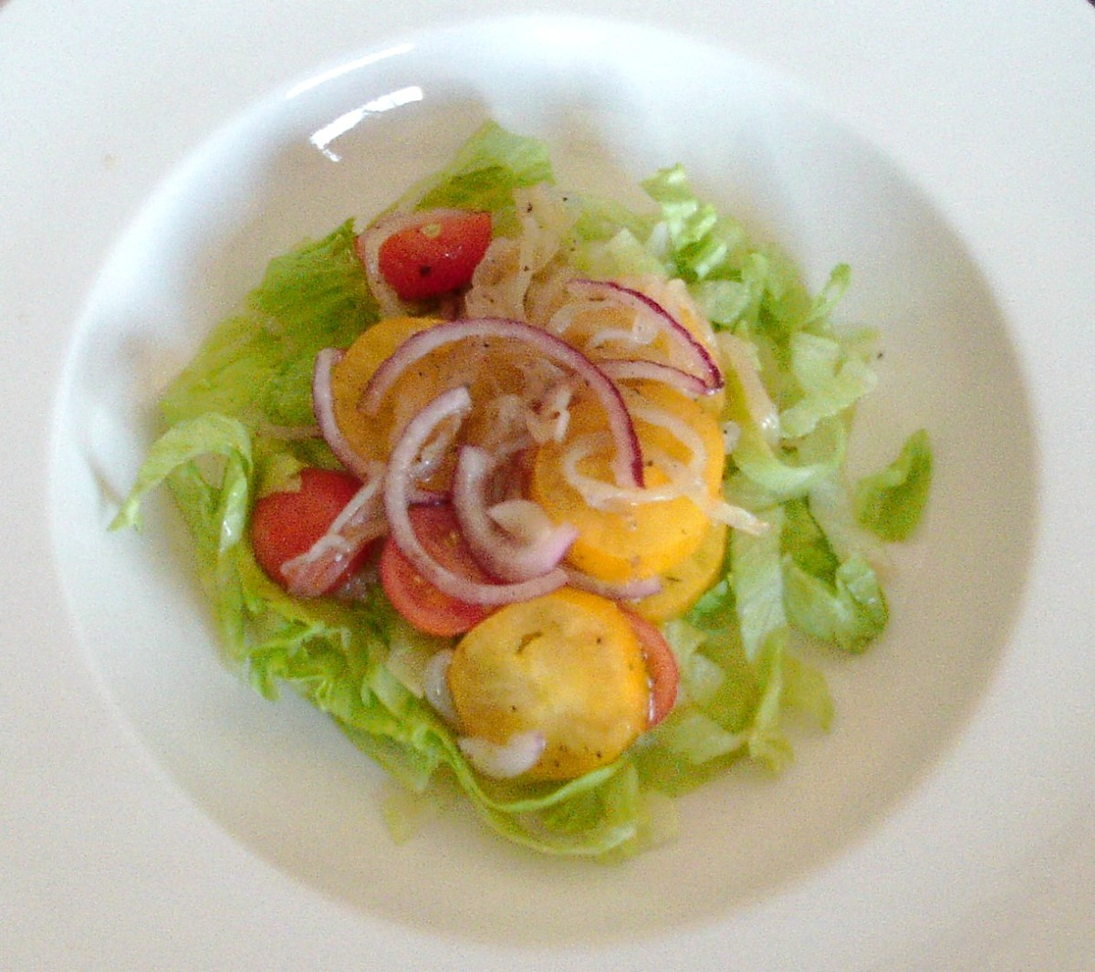 Jellyfish salad on shredded lettuce bed
