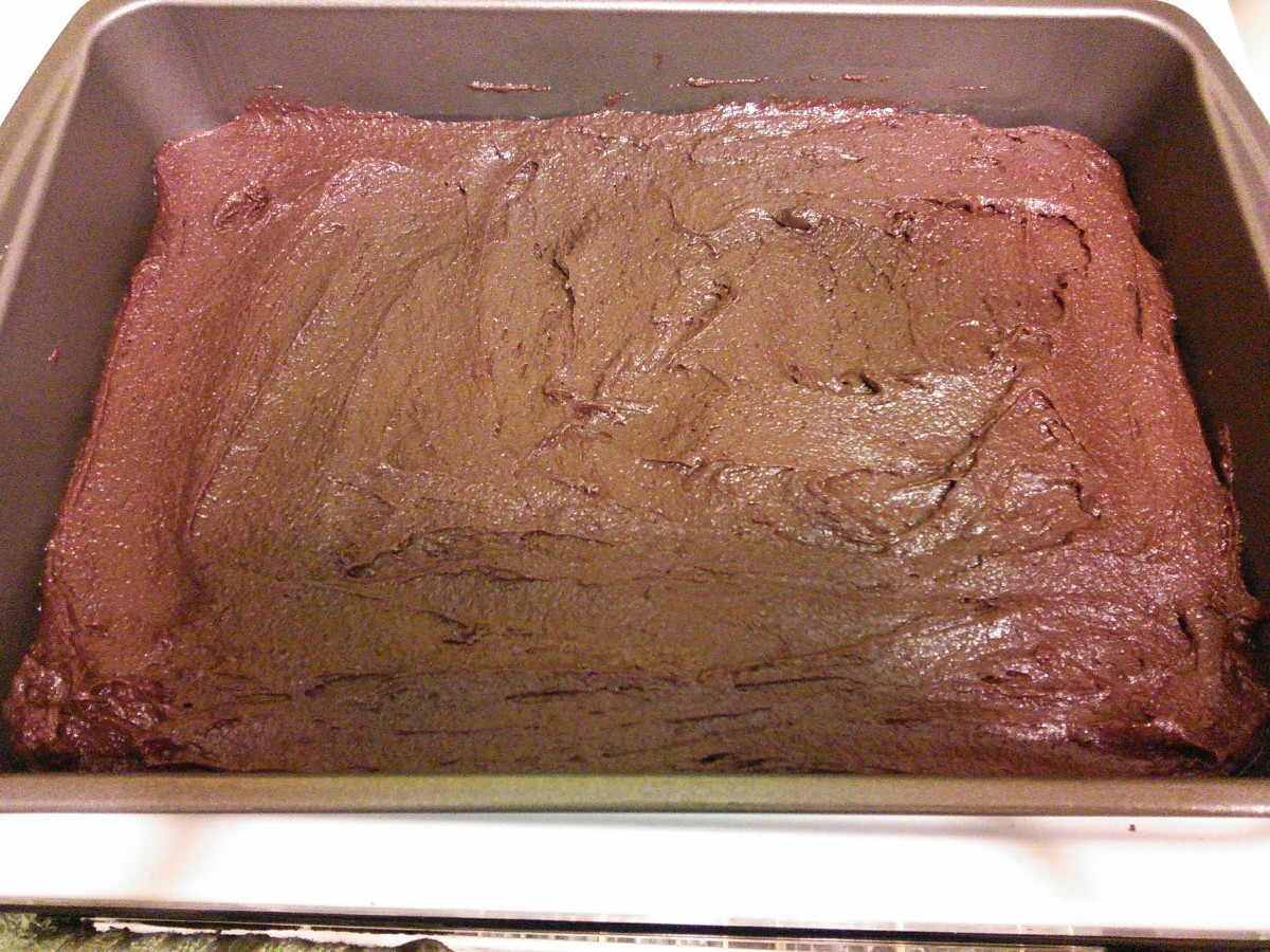 Spread your brownie mixture into your prepared 13x9 inch baking pan.