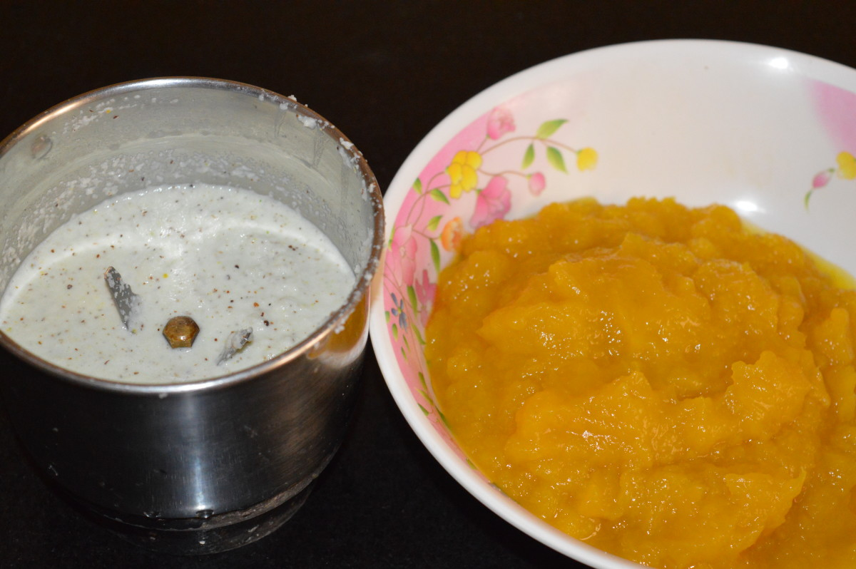 Pumpkin pulp with the ground masala paste.