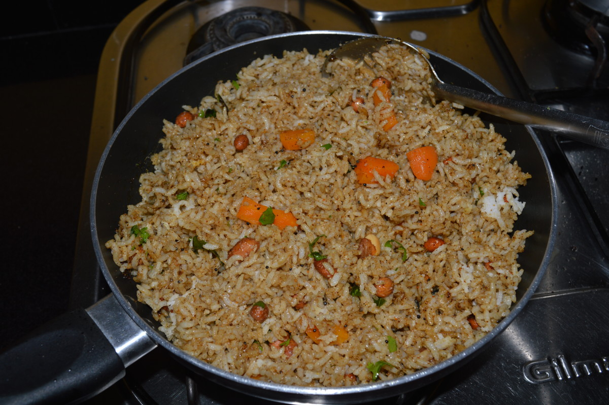 Puliyogare or tamarind rice