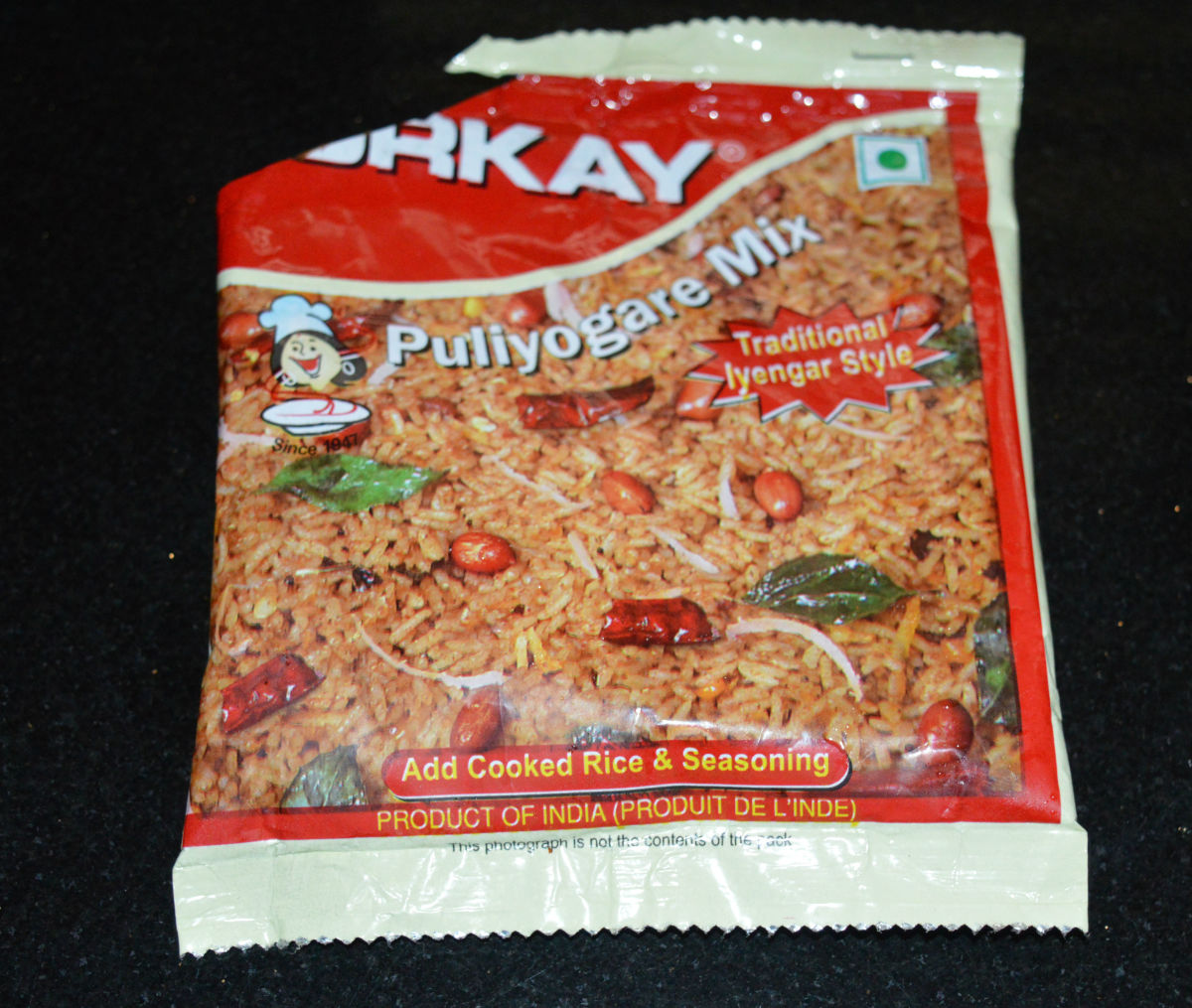 Orkay puliyogare mix. You get many other brands also.