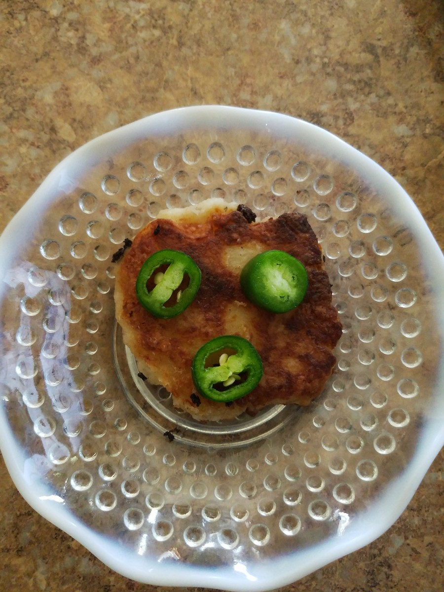 Tasty potato cake topped with fresh jalapeño peppers.