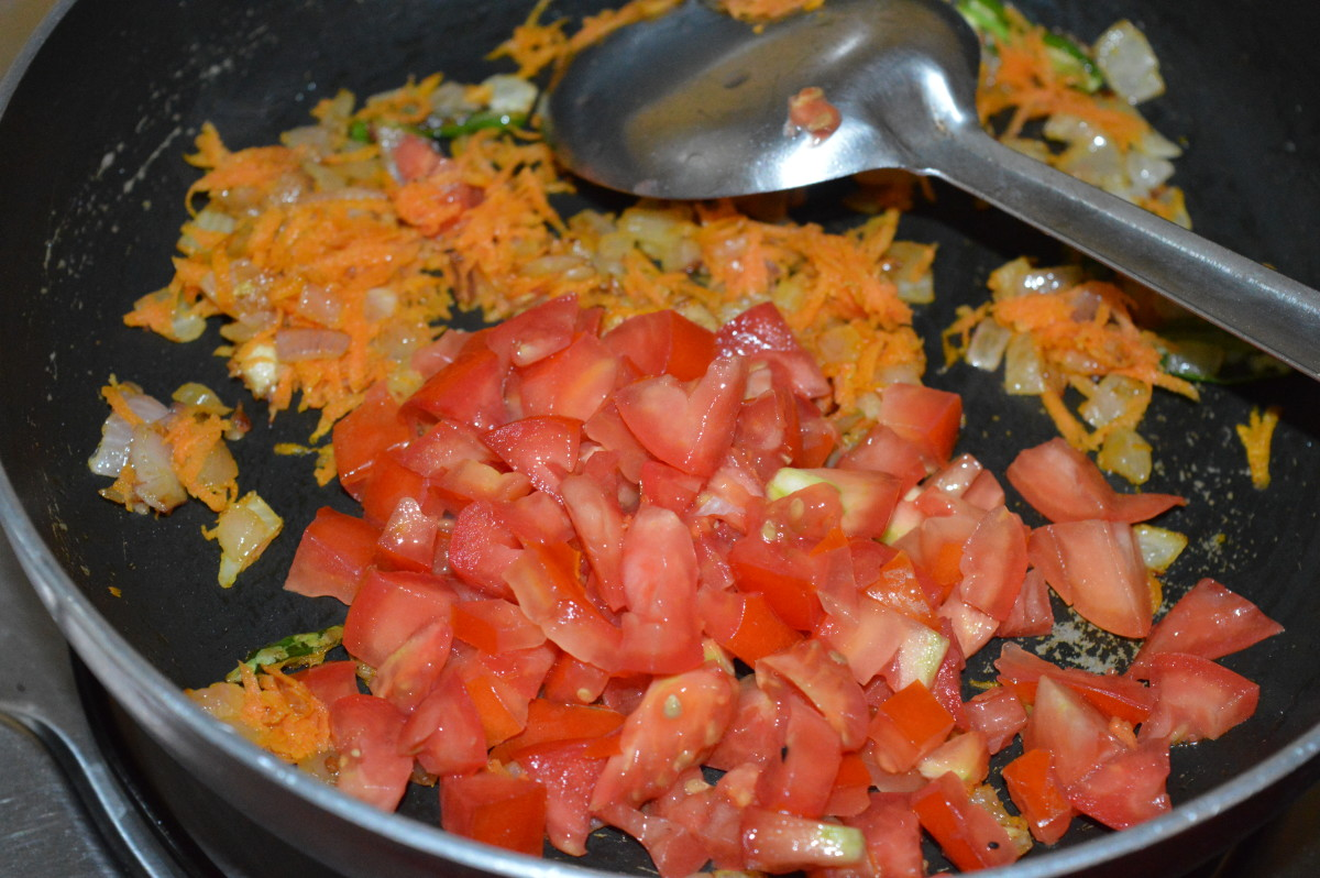 Step five: Add chopped tomatoes.