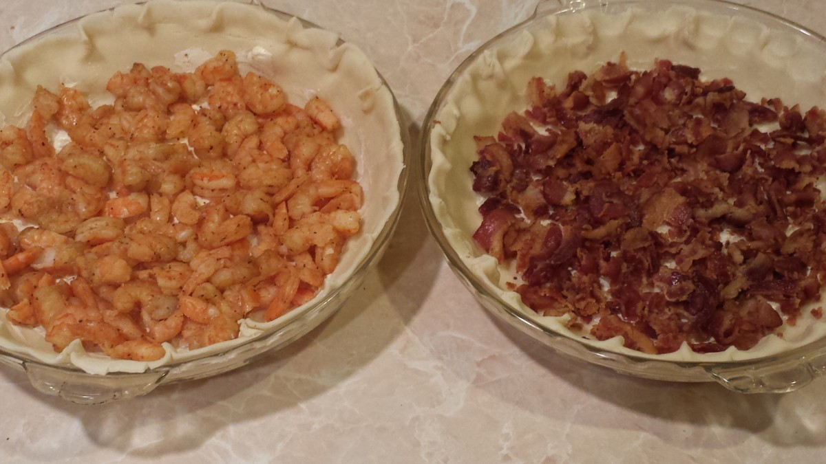 Prepping two simple quiches—shrimp on the left and bacon on the right.