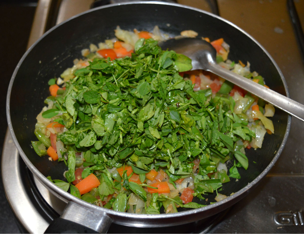 Step six: Add chopped fenugreek leaves. Stir-cook for another 4-5 minutes.