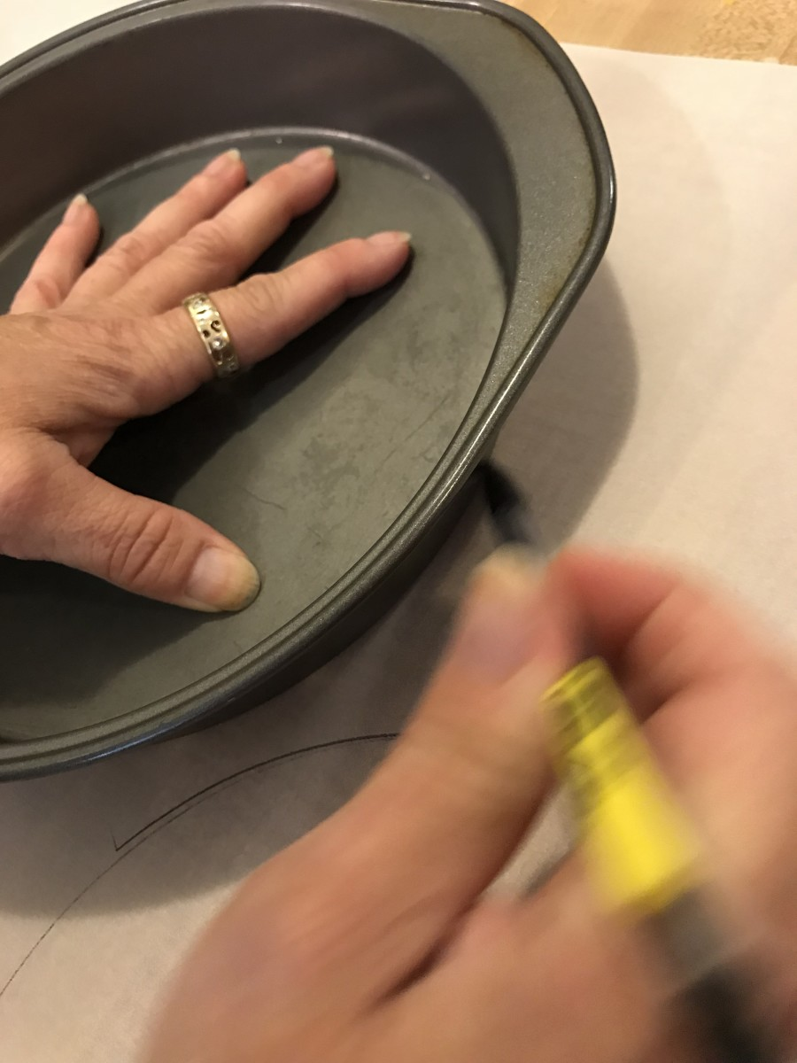 Prepare cake pans by coating them with baking spray, and lining them with parchment paper. Just trace around the bottom of the pans and cut out circles. You can also buy precut parchment circles in specialty stores.