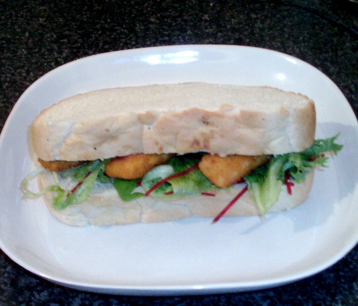 Fish fingers, salad and tartar sauce sandwich