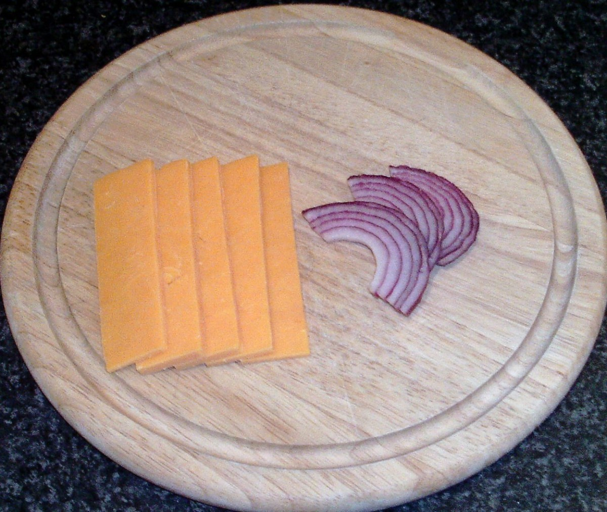 Sliced cheese and onion