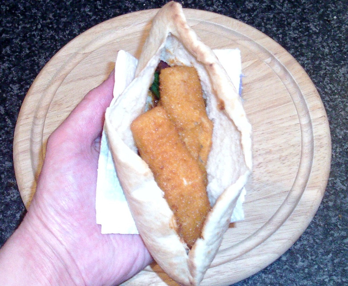 Fish fingers are added to pitta pocket