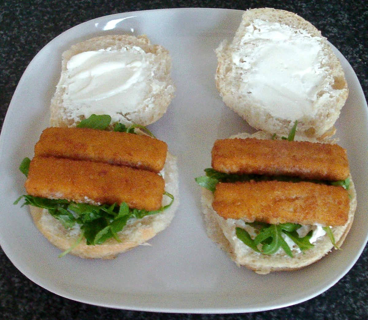 Fish fingers are laid on rocket beds
