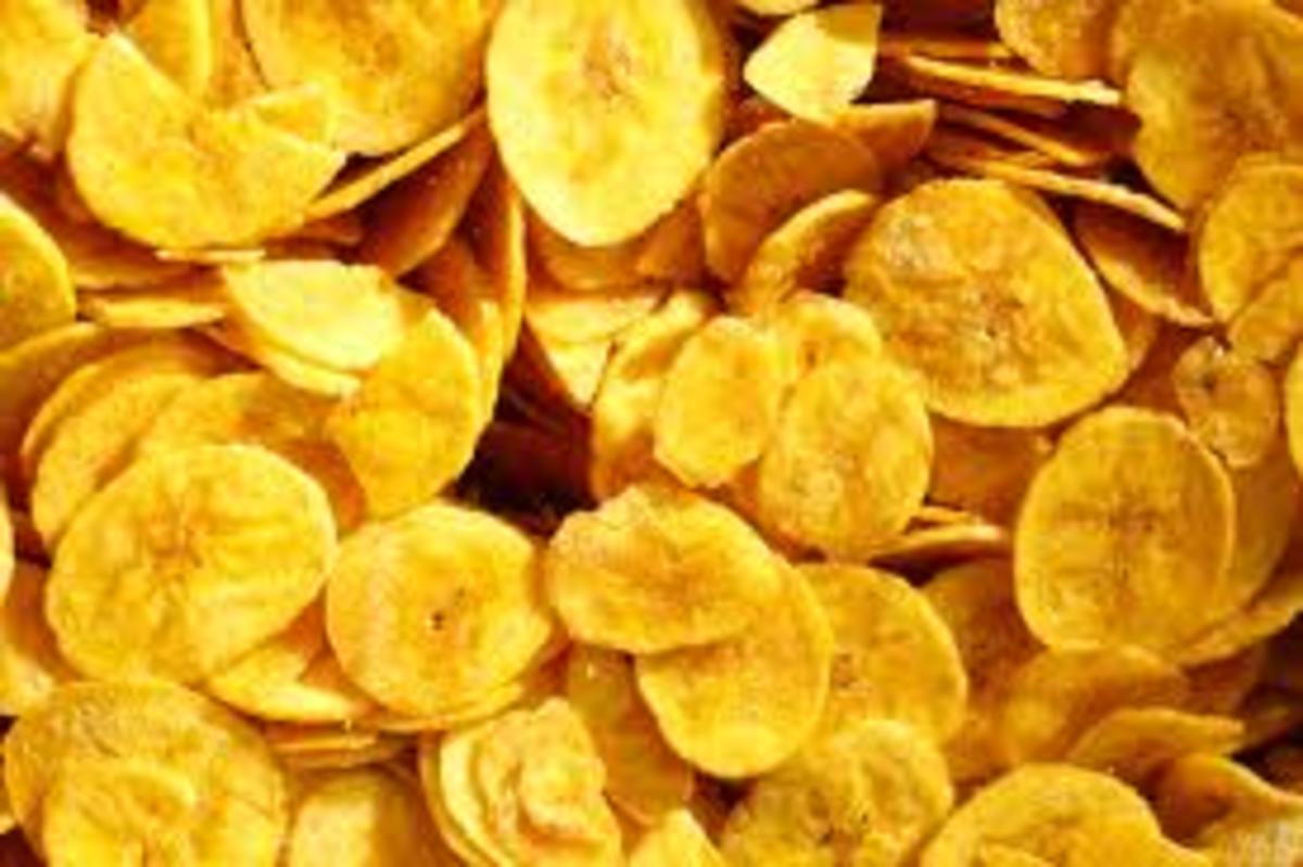 These chips were made with Nendran bananas from Kerala. They are known to make the best kind of banana chips, but other types of banana can work well, too.
