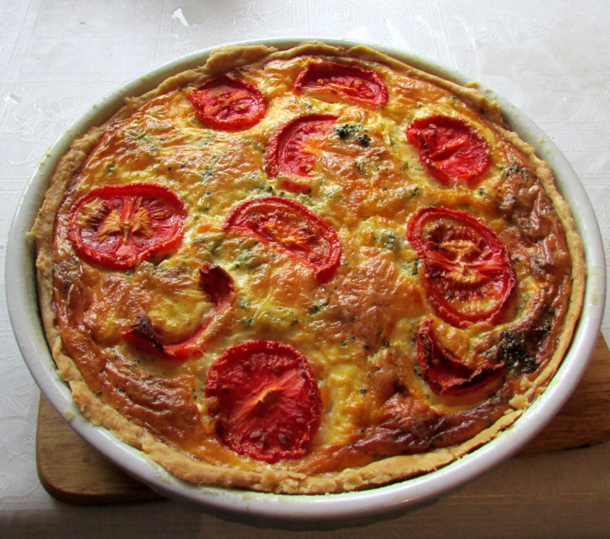 Homemade Quiche Lorraine, fresh out of the oven.