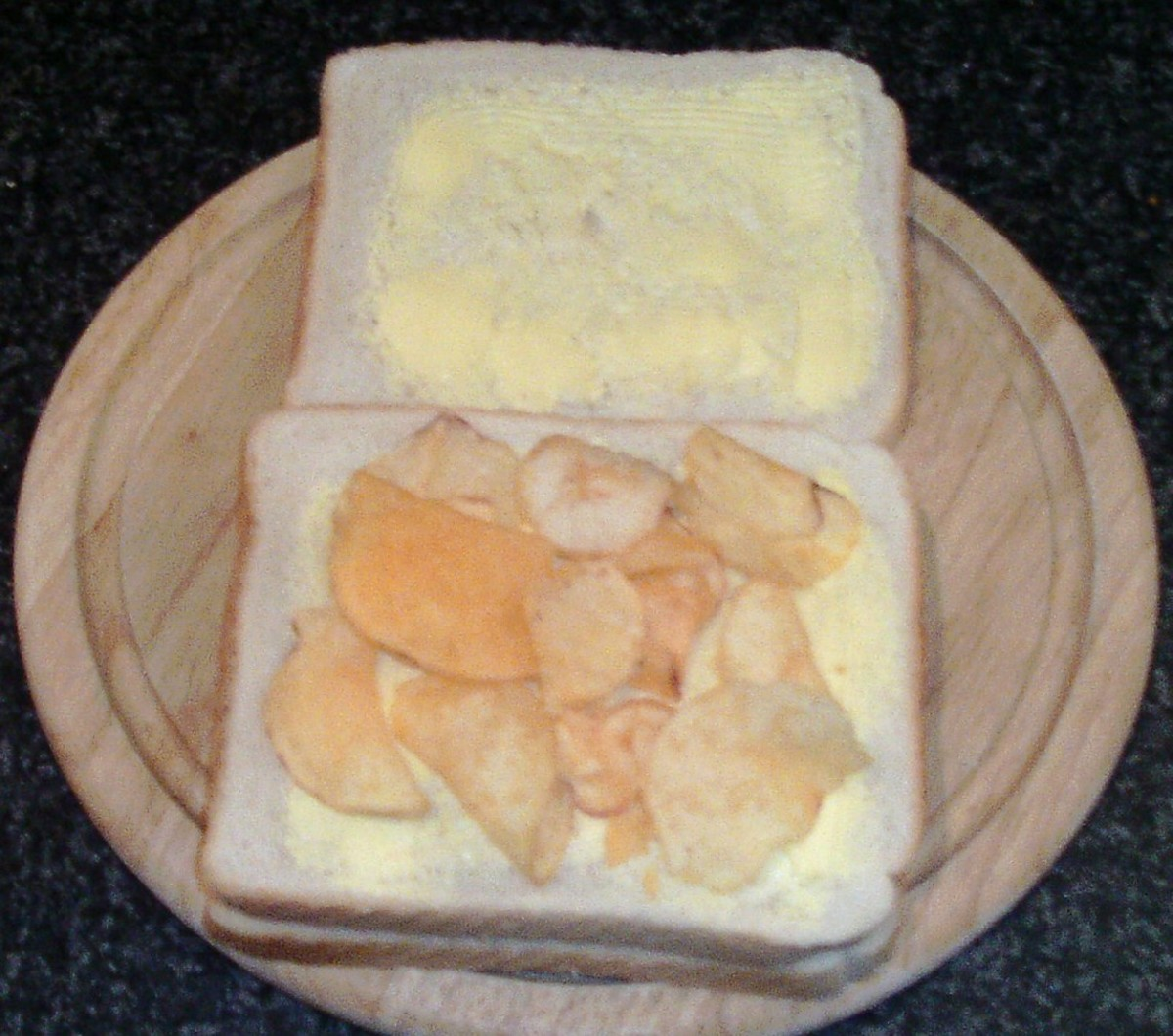 Cheese and onion crisps top second slice of bread