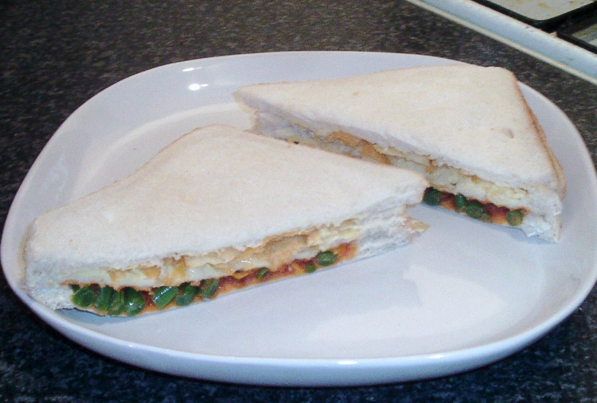 Cheese and onion crisp and spicy beans double decker sandwich