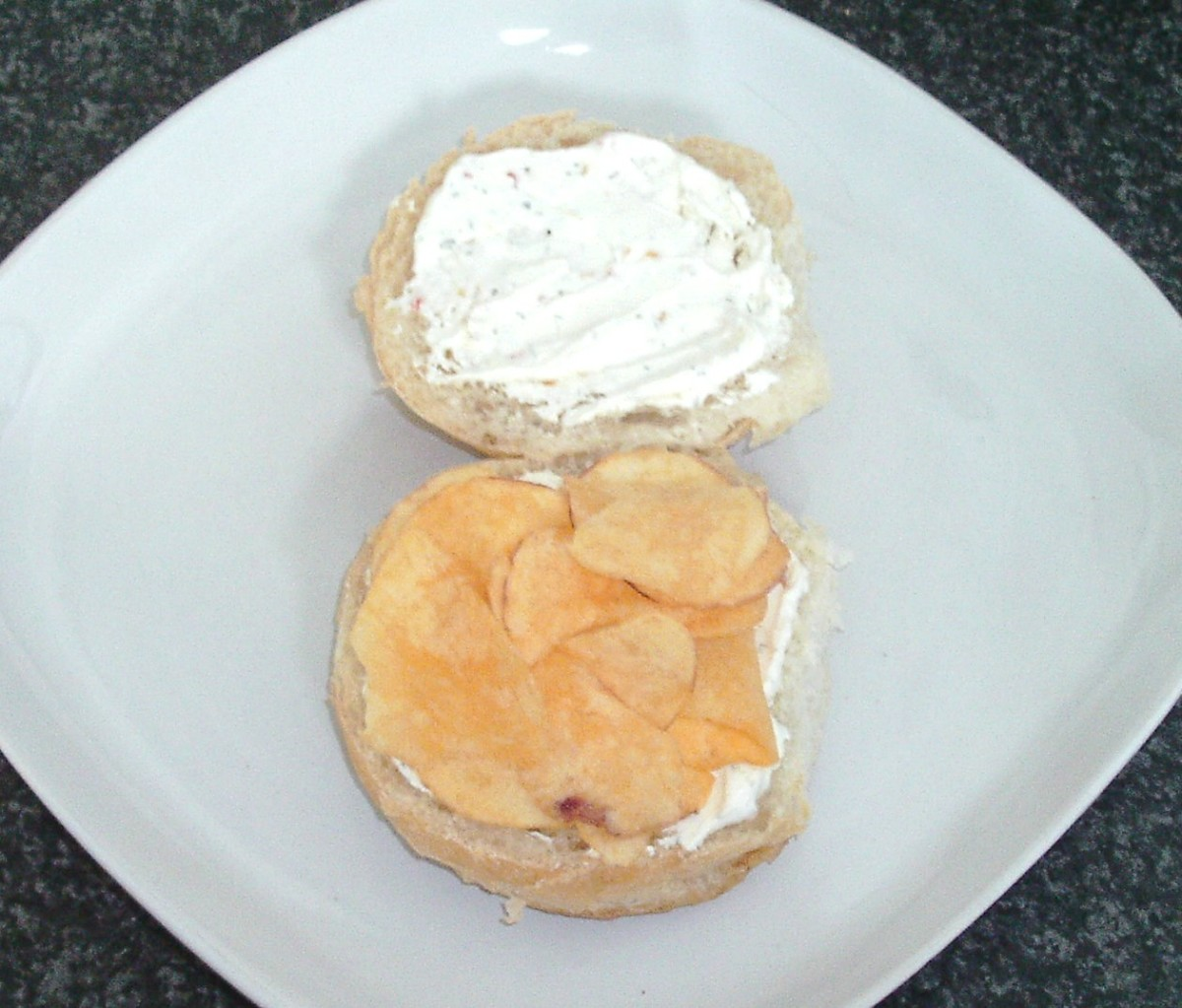 Cheese and onion crisps are added to roll