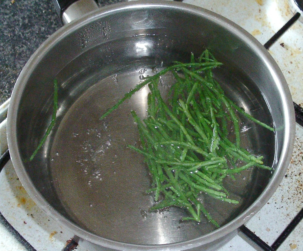 Samphire is blanched in boiling water