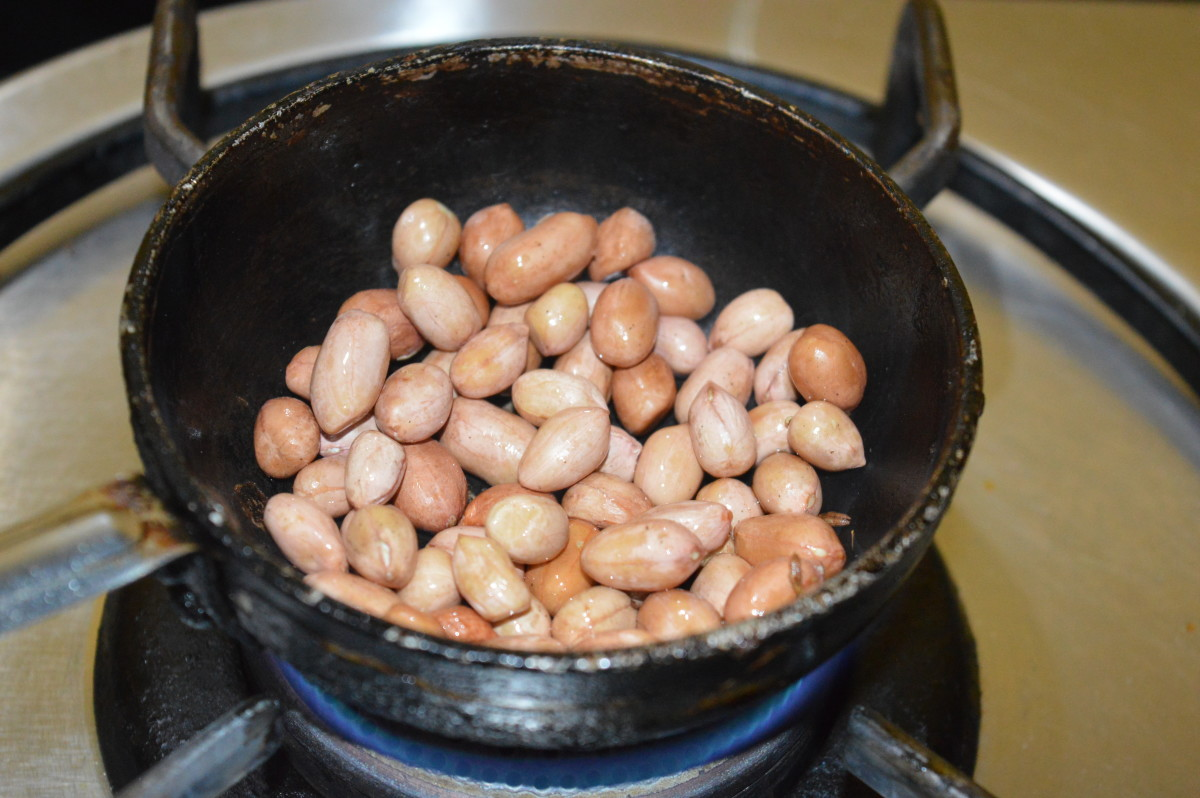 Step two: Roast peanuts. Remove the skin when they cool down.