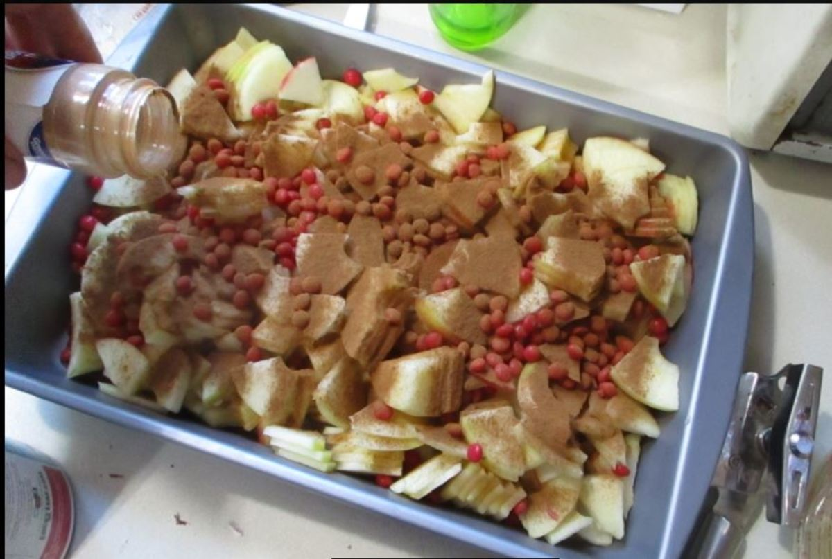 sprinkle cinnamon across apples
