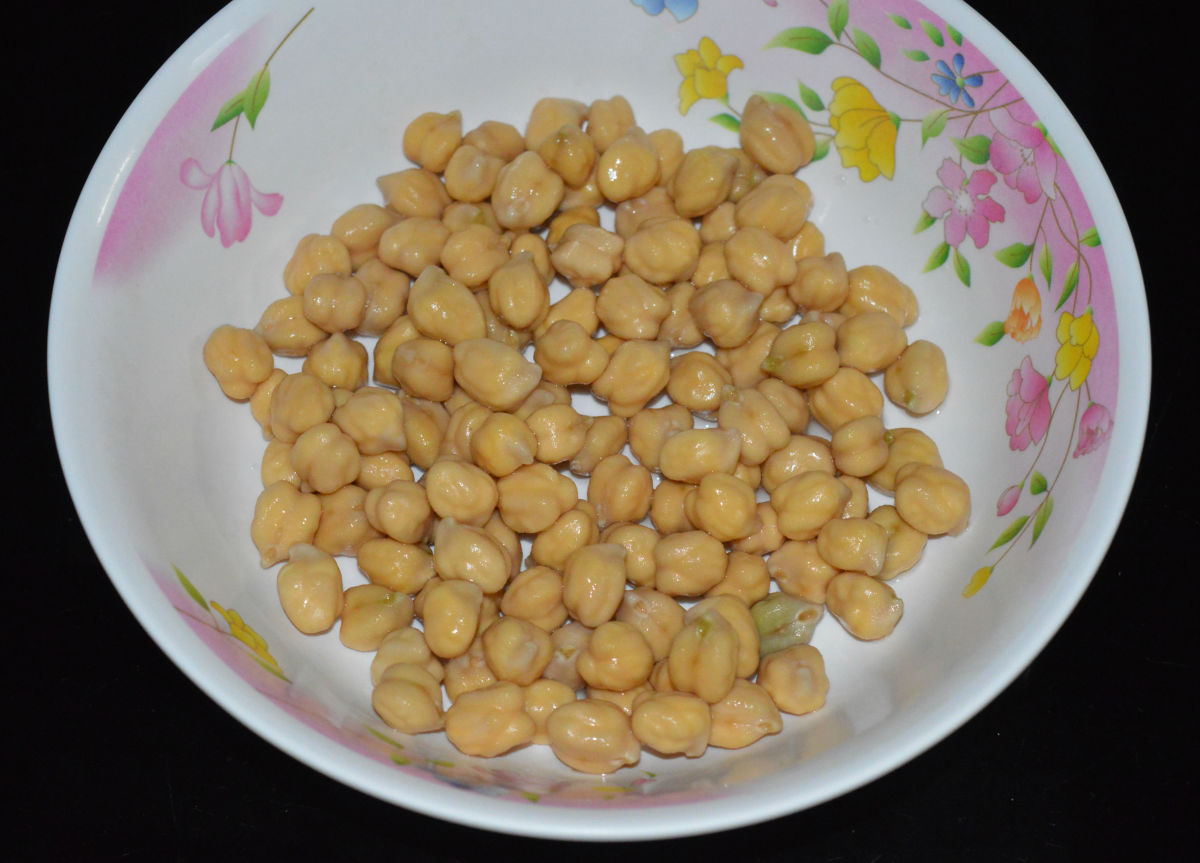 Step one: Soak garbanzo beans/chickpeas in water overnight or 8-10 hours.