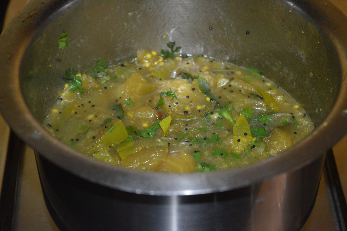 The sambar while it's cooking.