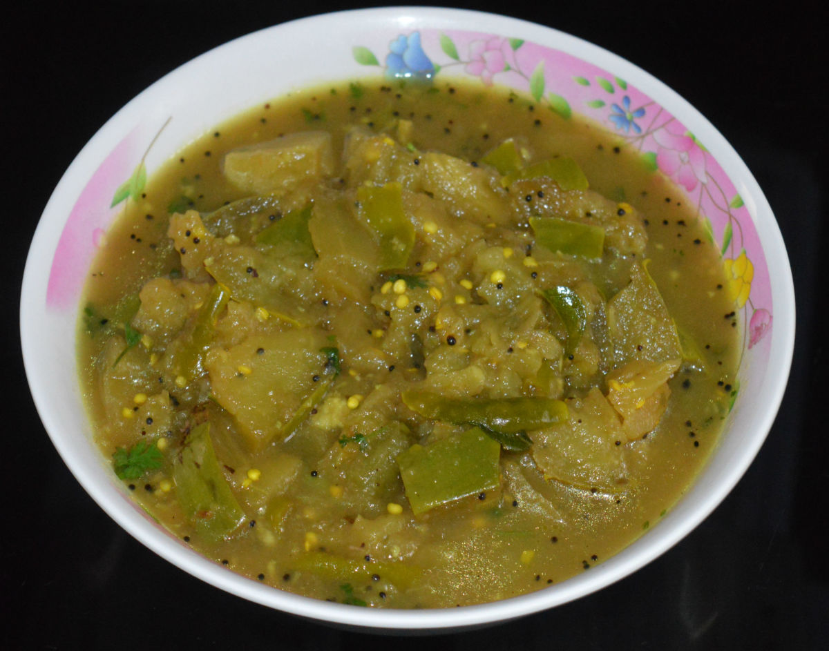 Authentic brinjal sambar.