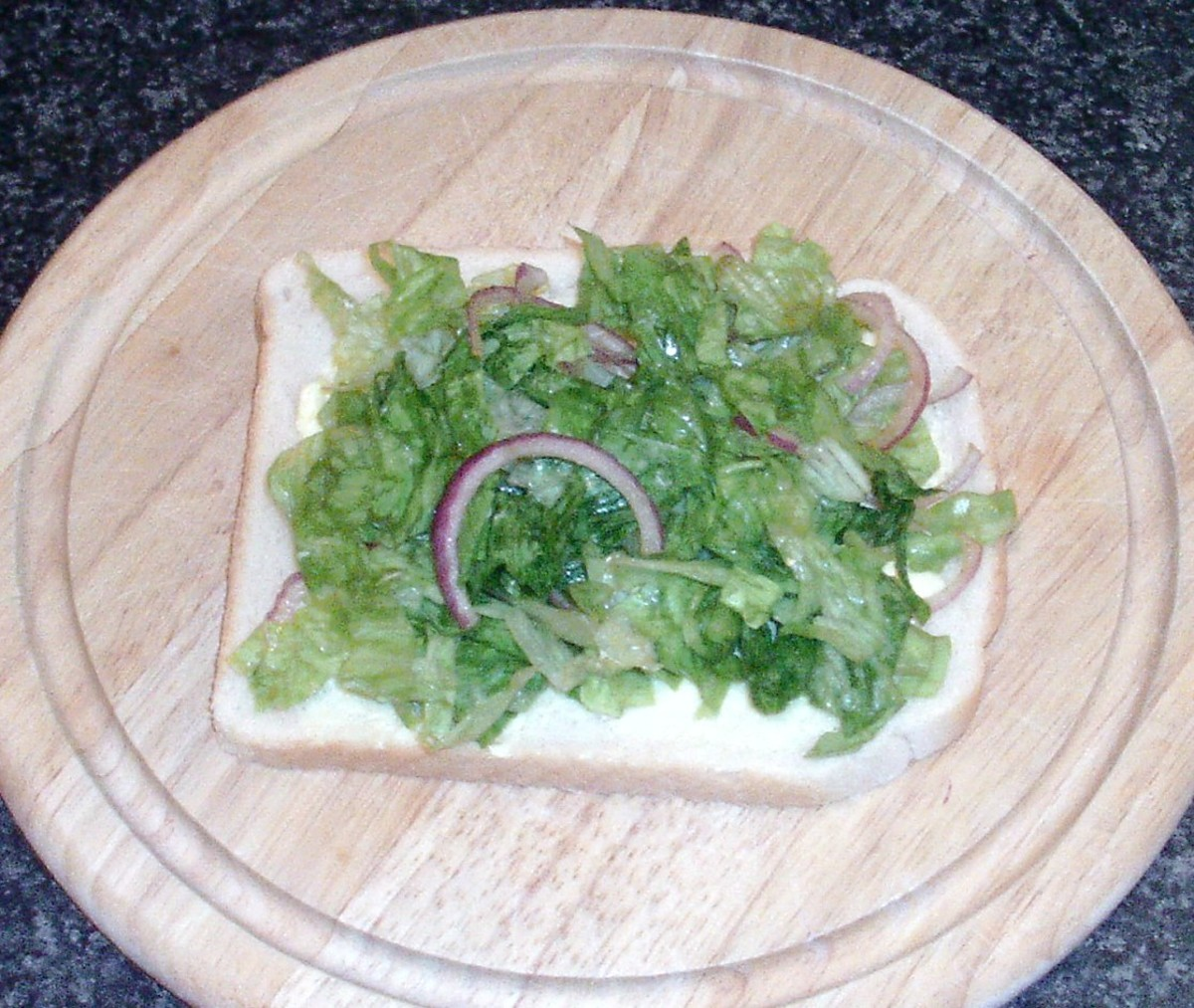 Seasoned salad bed on bread
