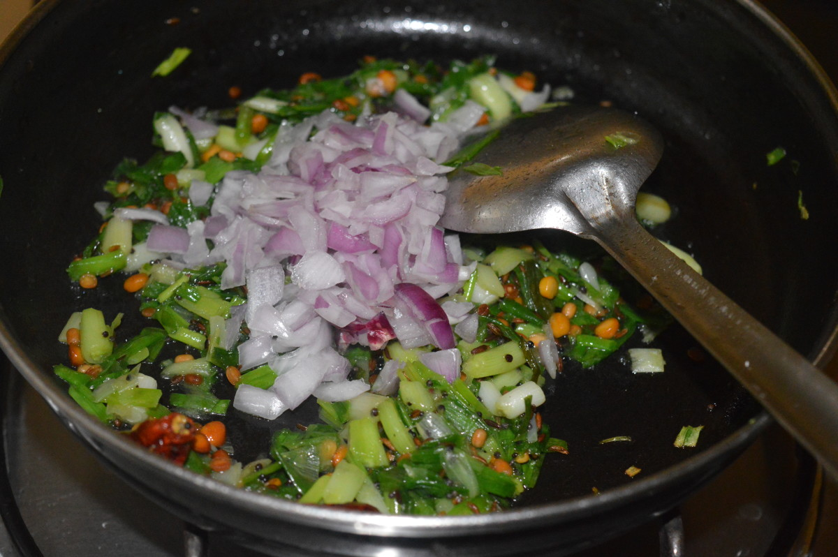 Step three: Add chopped onions. Continue sauteing till they turn translucent.