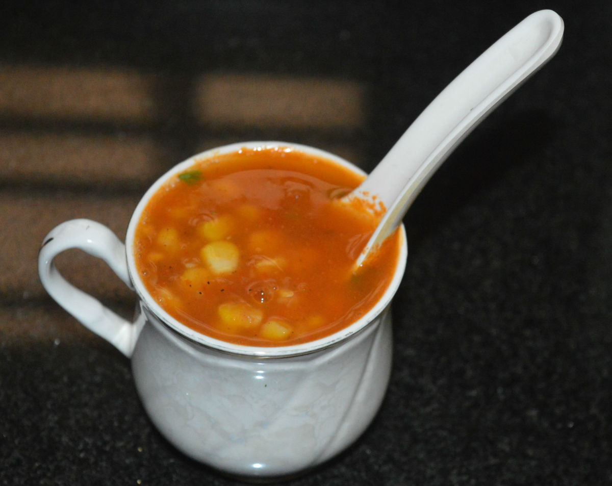 single-cup-sweet-corn-tomato-soup-in-ten-minutes