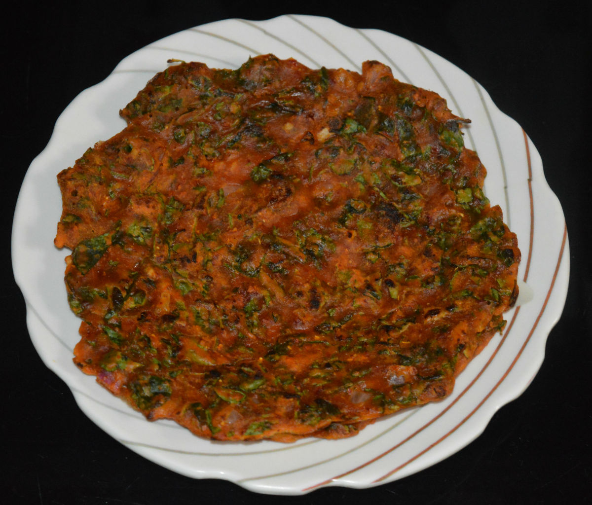 Fenugreek leaf pancakes or methi roti