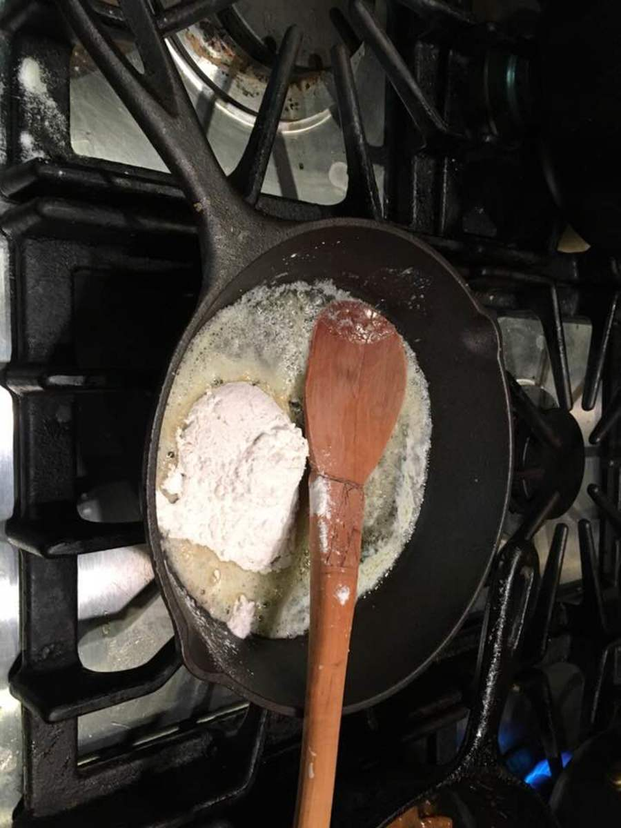 Melt butter in a skillet and add flour.