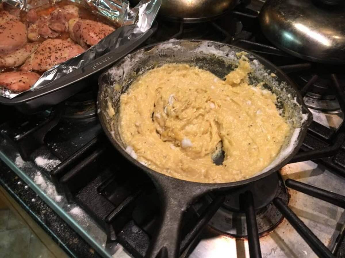 Stir beaten egg whites into the sauce.