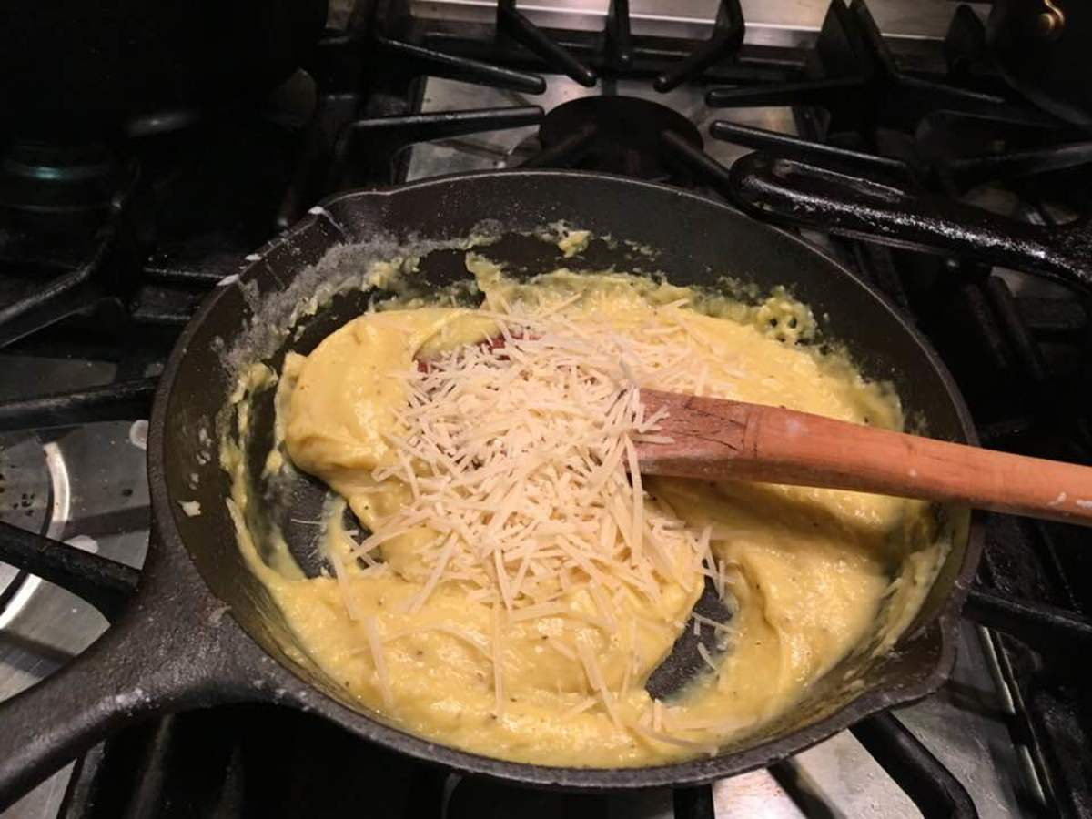 Add beaten egg yolks and Parmesan cheese to the sauce.