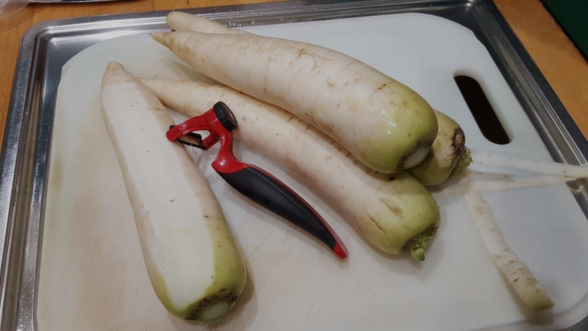 Peel radishes.