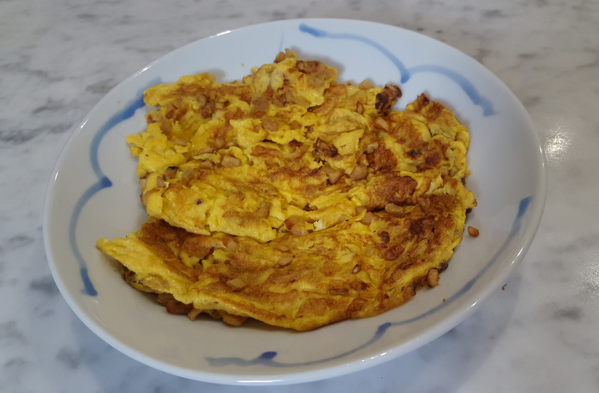 Choi poh omelette: a classic home-style Chinese dish.
