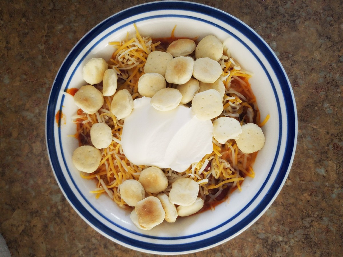 Add cheese, oyster crackers, and sour cream for a comforting bowl of chili.