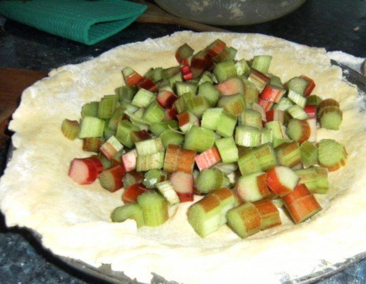 Making rhubarb pie