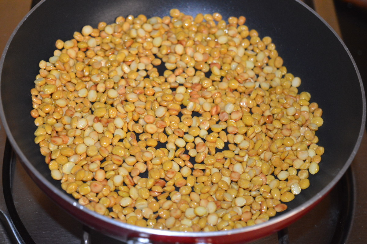 Step one: Roast split chickpea till golden brown. Transfer it to a large bowl.