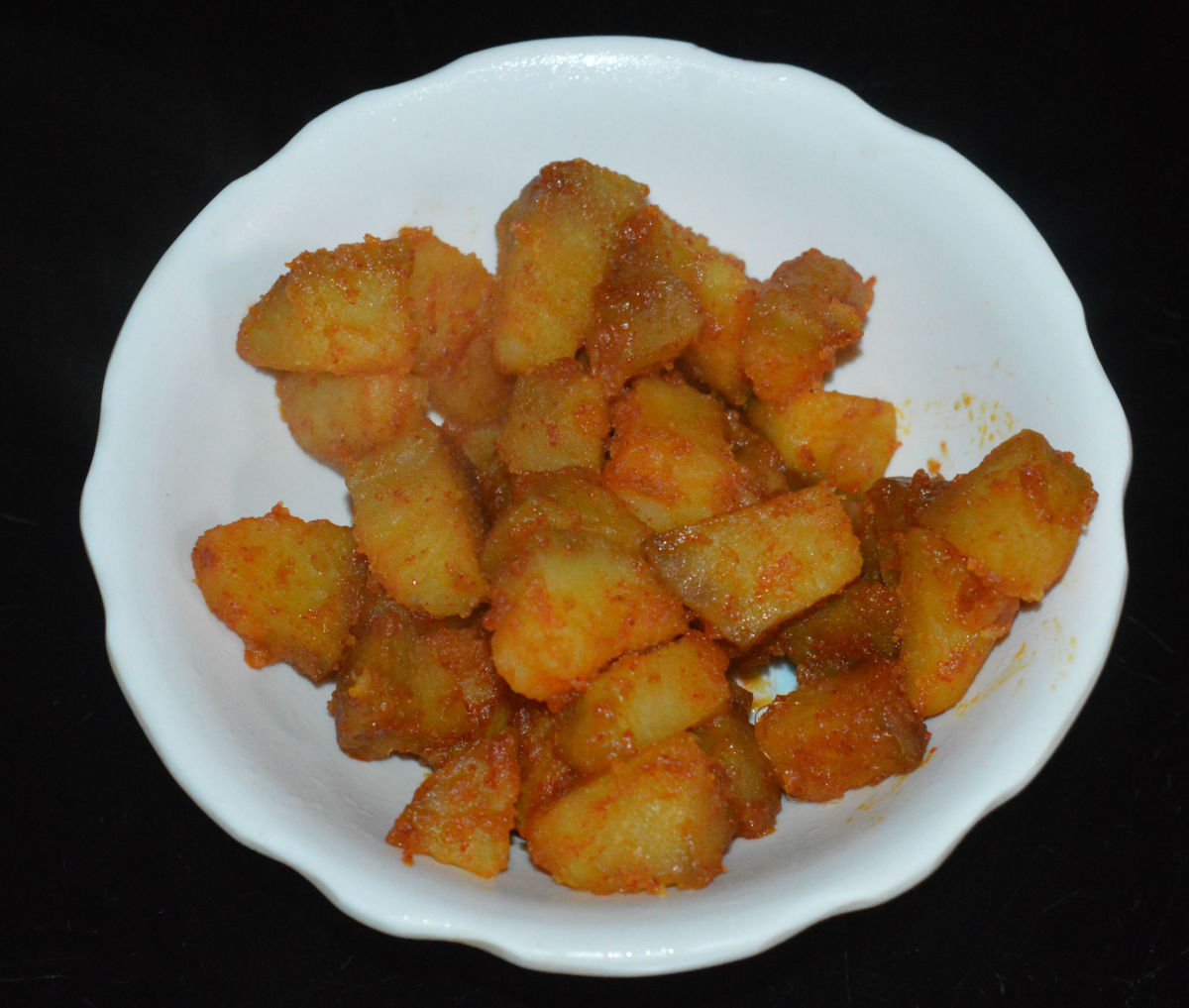 Cooked spicy potatoes