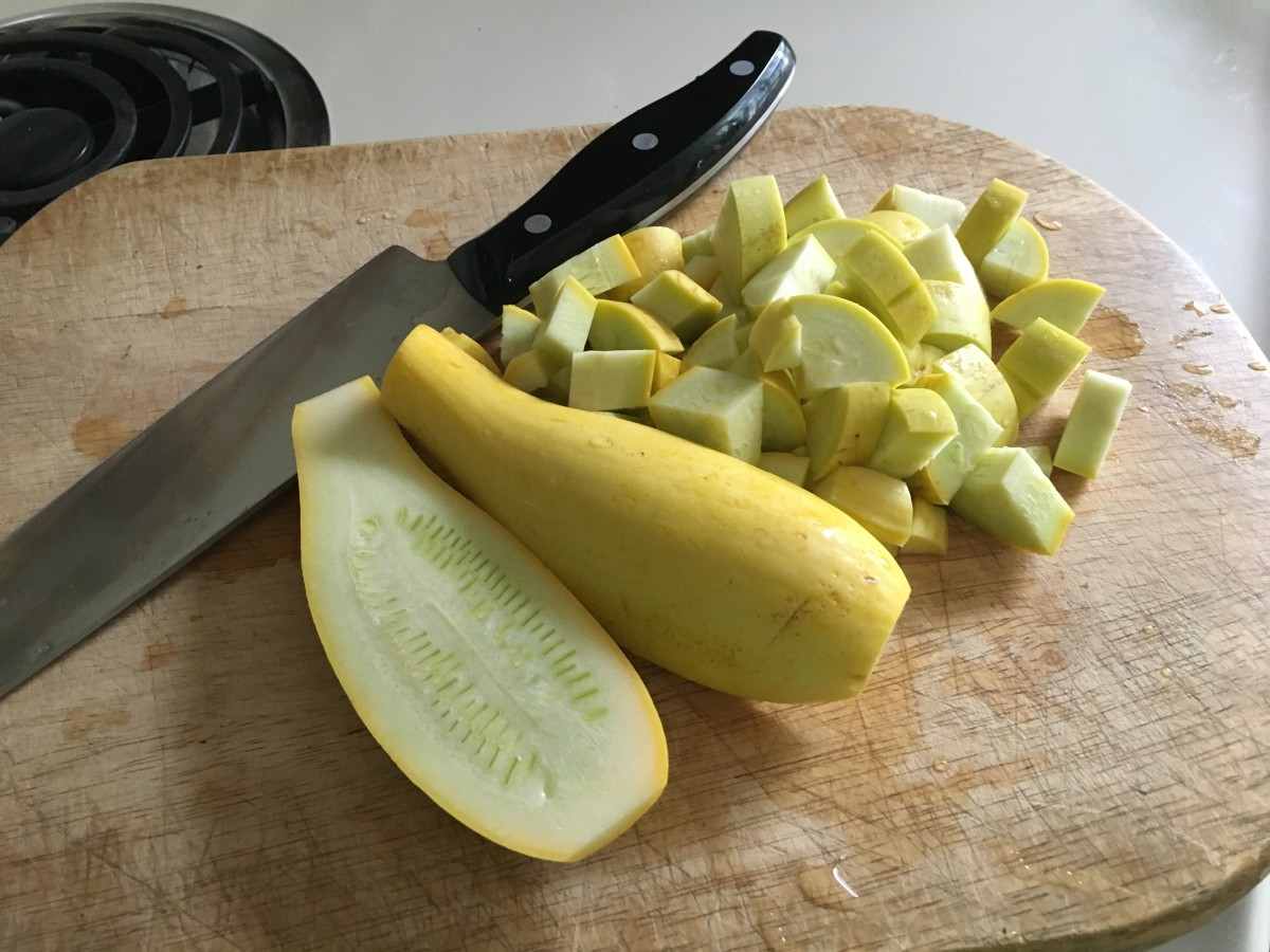 diced yellow squash