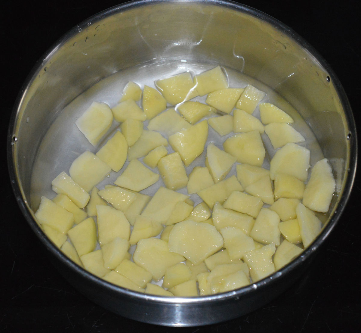 Step one: Boil potato cubes in water till they become soft. Mash them. Set aside.