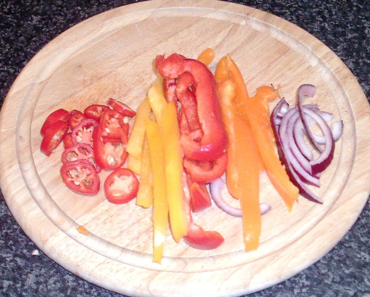 Peppers and onion sliced for cooking