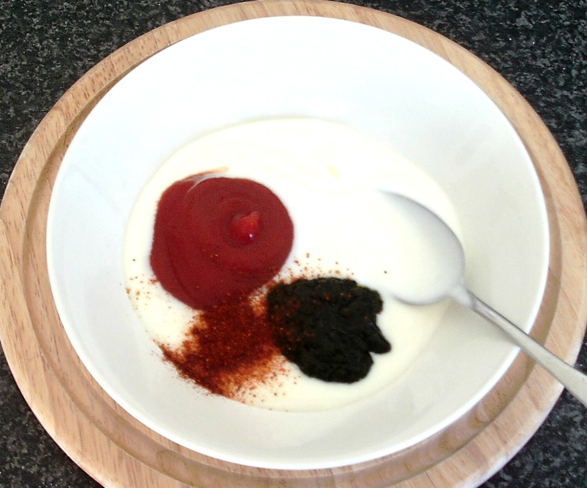 Sauce ingredients are added to mixing bowl