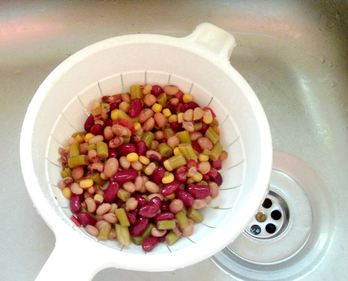 Beans are drained and rinsed