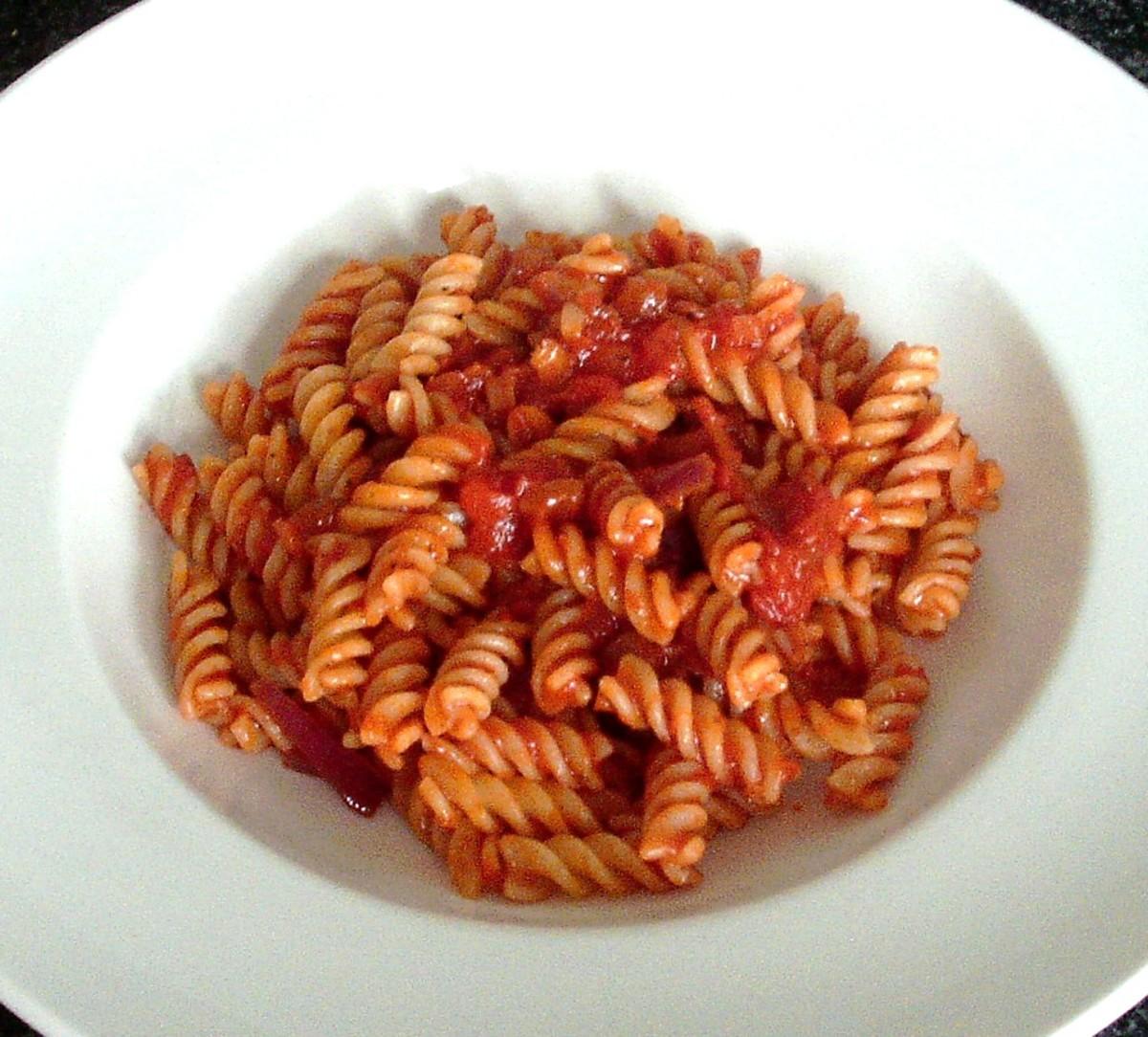 Fusilli pasta in tomato sauce